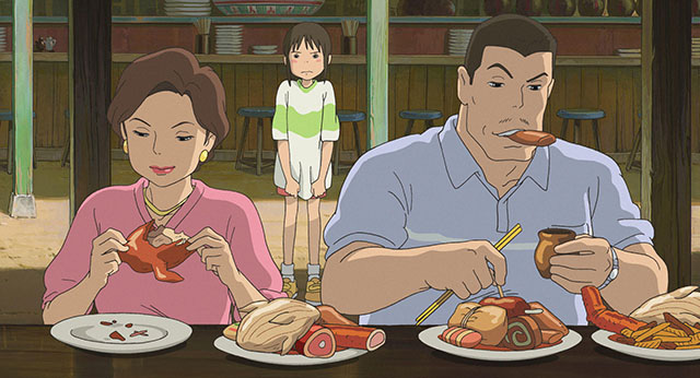 屋台で異世界の食べ物を貪る千尋の両親