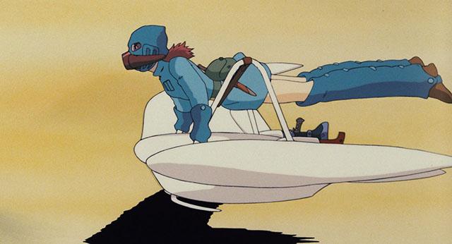 ガスマスクを付け飛び回るナウシカ